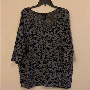 Sheer Black & Grey 3/4 Sleeve Skull Shirt
